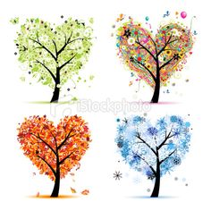 Art trees love collection for your design, four seasons Royalty Free Stock Vector Art Illustration