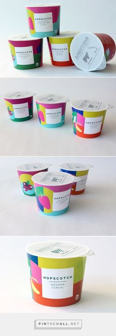 Graphic design, illustration and packaging for HOPSCOTCH on Behance by Katherine Covell Salt Lake City, Utah curated by Packaging Diva PD. Colorful to-go cereal packaging. Cereal Packaging, Yogurt Packaging, Dairy Packaging, Ice Cream Packaging, Cool Packaging, Food Packaging Design, Chocolate Packaging, Packaging Design Inspiration, Brand Packaging