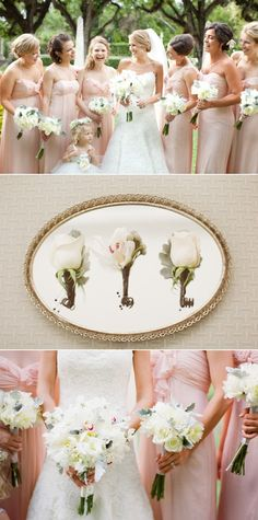 Light colored bridesmaids dresses