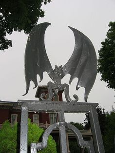 Stephen King's house - bat on front gate