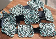 Navajo Native American Indian Concho Belt. It is made from leather, sterling silver, and turquoise. Traditional, with a twist. I have not seen this particular squared concho.