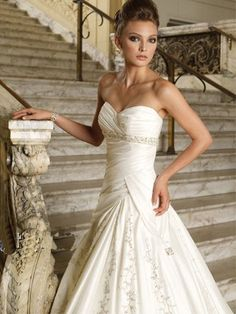 Elegant Strapless Applique Satin Beading Wedding Dress
