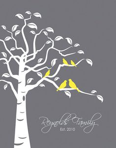 """""""Family Tree with Birds""""   Personalized with Last Name & Date. (*optional) This would be a neat quit deign. I would have one branch a different color with baby bird of a mixed color"""