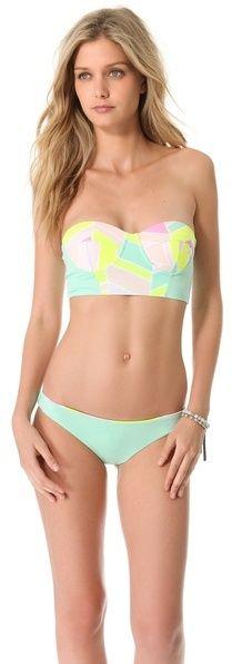 82880e176e3 Zinke Starboard Bustier Bikini Top - women's swimwear (mint chevron,  swimsuit apparel) Bathing