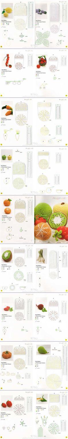 Crochet Fruit, Crochet Food, Crochet Chart, Love Crochet, Crochet Motif, Diy Crochet, Crochet Flowers, Crochet Stitches, Crochet Patterns