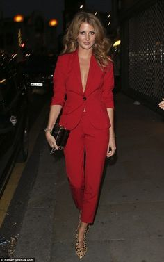 Millie Mackintosh arrived for the Samsung Galaxy Alpha launch party in a revealing red suit on Tuesday, after opting to wear nothing underneath. Red Pants Fashion, Suit Fashion, Womens Fashion, Red Fashion, Fashion 2018, Mode Outfits, Chic Outfits, Fashion Outfits, Fashion Ideas