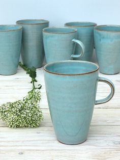 Turquoise koffiemok grote koffiemok Tall koffie door FreshPottery