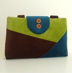 Color Block Purse in Velvet and Corduroy -  One of a Kind Bag