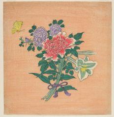 Bouquet of Flowers, Tea Box Print (Chabako no E) HIROSHIGE II (JAPANESE, 1826–1869) 1865