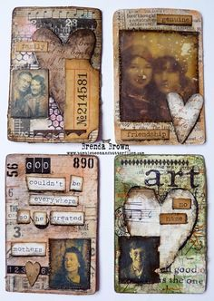 Gorgeous altered and collaged playing cards from Brenda Brown - Bumblebees and Butterflies - 3/1/2014