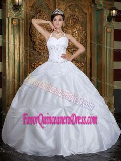 Recommended Halter Pick-ups White Taffeta Sweet 15 Dresses Free Shipping