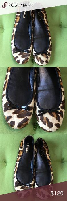 PRADA Animal Print Ballerina Flats size 38 Prada Ballerina Flats size 38 in good preowned condition Prada Shoes Flats & Loafers