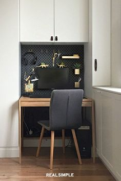 5 of the Best IKEA Hacks for Organizing Small Spaces | Evgynia from Foxy and Brass shared on Grillo Designs a DIY pegboard that adds storage to a DIY home office without compromising on style using IKEA home decor items. She painted a SKADIS pegboard a chic charcoal gray that plays down the computer monitor. #decorideas #homedecor #decorinspiration #realsimple #smallspaceideas #apartmentideas