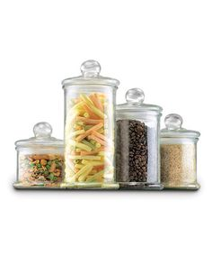 Win What You Pin! - Anchor Hocking Anchor Hocking 4 pc Round Glass Canister Set w/ Ball Lid - Canister Sets - Prep & Storage I could use these to store many things in! Glass Apothecary Jars, Glass Jars With Lids, Glass Canisters, Jar Lids, Glass Storage Jars, Glass Containers, Jar Storage, Kitchen Storage, Food Storage