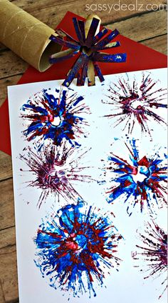 Toilet Paper Roll Fireworks Stamp Craft for Kids - Great for a 4th of July art project! Make sure you click the image to see how to make this skinny stamper!