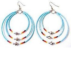 TURQUOISE TRIPLE MEMORY WIRE EARRINGS WITH CUTGLASS BEADS : Four Direc...
