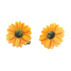 LAVISHY Yellow Flower Clip-On Stud Earrings ($6.99) ❤ liked on Polyvore featuring jewelry, earrings, stud earrings, evening jewelry, flower jewelry, blossom jewelry and flower jewellery