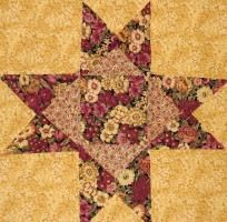 12 Flower Star Quilt Blocks Kit - Flower Garden - OOP Floral Fabric Quilting Sewing  $19.99