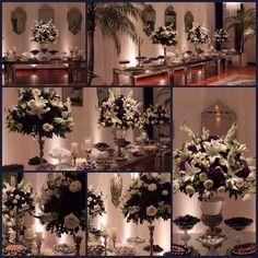 Mesa de doces - casamento azul e prata