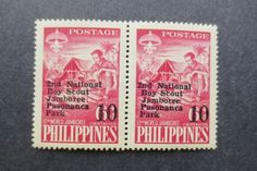 PHILIPPINES EARLY MID #832 VF MINT NEVER HINGED MNH BOY SCOUTS ERROR STAMP PAIR
