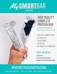 USANA protein bars.  Excellent source of fibers. No trains fats, low glycemic, gluten free, non GMO, MCT's from coconut oil.