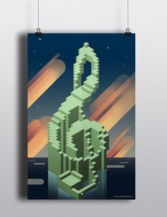 "Inspired by the block-ish landscapes of Minecraft and the art style of Steven Universe, this poster is a great addition to any music lover's collection! This 11""x17"" poster is professionally printed o"