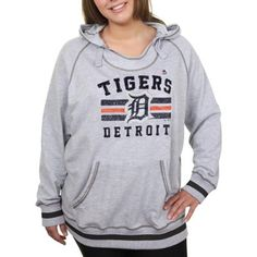 Majestic Detroit Tigers Ladies Plus Sizes All-Time Slugger Pullover Hoodie - Gray