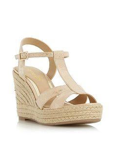 Head Over Heels Klover metallic t bar wedge sandals