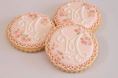 Sharing some of my favourite cookies and sets made in These monogram cookies were made to match printables by for an event styled by by miss_biscuit_ Roll Cookies, Fancy Cookies, Cake Cookies, Sugar Cookies, Cupcakes, Biscuit Cake, Biscuit Cookies, Wedding Shower Cookies, Monogram Cookies