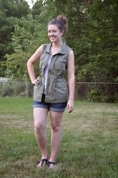 Utility Vest, jean shorts, polka dot tank