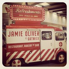 The food truck has arrived at Gatwick airport all looking great and full of yummy things big love #jamie