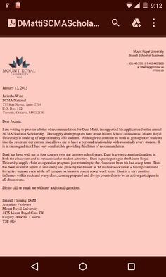 My reference letter from Brian Fleming for the Supply Chain Management Scholarship! Thank you Brian Fleming.