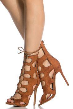 Chestnut Faux Suede Cut Out Lace Up Heels @ Cicihot Heel Shoes online store sales:Stiletto Heel Shoes,High Heel Pumps,Womens High Heel Shoes,Prom Shoes,Summer Shoes,Spring Shoes,Spool Heel,Womens Dress Shoes