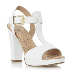 DUNE LADIES JASMIN - Cork Detail T Bar Platform Leather Sandal - white | Dune Shoes Online