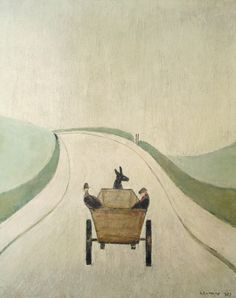 The Cart by Laurence Stephen Lowry Art And Illustration, Illustrations, English Artists, Naive Art, Famous Artists, Landscape Paintings, Folk Art, Art Drawings, Contemporary Art