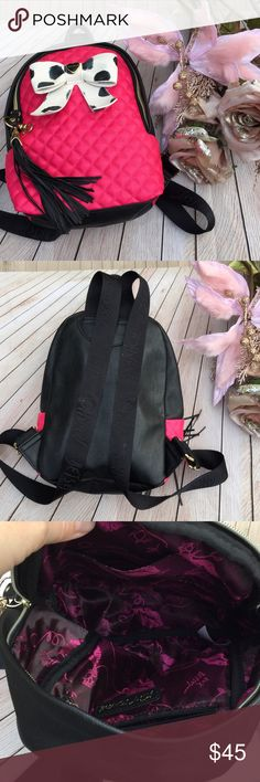 Betsey Johnson back pack bag EUC Betsey Johnson back pack bag EUC. No flaws that I can see. Polyurethane body, polyester lining. Tassel connected to zipper, extra connecter for attaching bag charms. Betsey Johnson Bags Backpacks