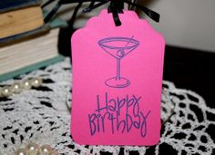 Happy Birthday Martini Gift Tags  Set of 12 by Booksonblocks, $3.95