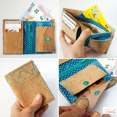 Purse sewing with SnapPap Diy Wallet, Fabric Wallet, Clutch Wallet, Silhouette Mint, Diy Mode, Cork Fabric, Fabric Scraps, Sewing Hacks, Purses And Bags
