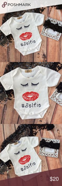 Boutique Baby Girl #SELFIE, eyelashes, & kiss 2pc Cute onesie with eyelash and big red kiss to the front that says #selfie. Trendy and cute and sure to get some smiles :). Black sequin bow headband comes with Onesie for the ultimate diva package :) One Pieces Bodysuits