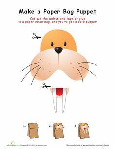 Worksheets: Walrus Paper Bag Puppet