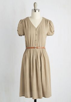 Take to the Wind Dress in Tan - Tan, Print, Buttons, Belted, Casual, A-line, Short Sleeves, V Neck, White, 90s, Social Placements, Mid-length, Top Rated