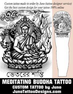 meditating buddha tattoo, juno tattoo designs