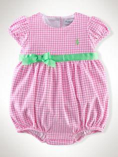 Gingham Cotton Shortall - Baby Girl One-Pieces - RalphLauren.com