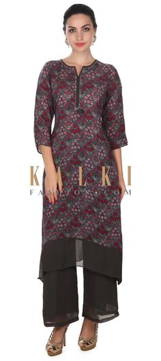 Buy this Grey straight suit in floral butti with palazzo pant only on Kalki
