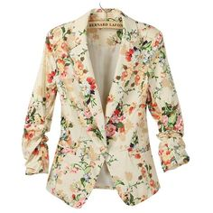 Apricot Long Ruched Sleeve Florals Print Blazer ❤ liked on Polyvore featuring outerwear, jackets, blazers, coats, coats & jackets, flower print blazer, long length blazer, floral print jacket, ruched sleeve blazer and long jacket