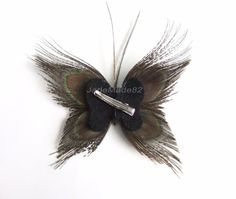 Butterfly Peacock Wedding Hair Clip Accessory by JadeMade82