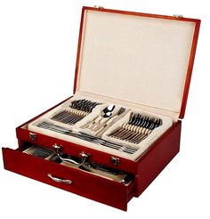 Amazon.com | Venezia Collection Flatware Chest, Deluxe 2-Drawer Mahogany / Cherry colored Wood Storage Case holds up to 75 Silverware pieces, Gold-plated Hardware w/ High Gloss Finish: Serving Sets