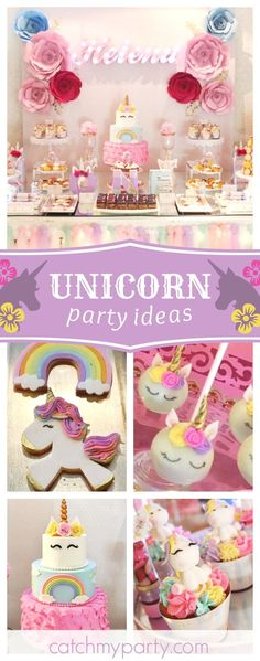 Take a look at this magical Unicorn birthday party! The birthday cake is amazing! See more party id 1st Birthday Girls, Unicorn Birthday Parties, First Birthday Parties, Birthday Party Decorations, First Birthdays, Birthday Ideas, Cake Table Birthday, Birthday Photos, Rainbow Unicorn Party