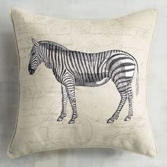 Tap into your wild side with our safari-inspired pillow. Sporting a vintage look, striped zebra and ivory-hued field, it makes a fun accent on your sofa or office armchair.