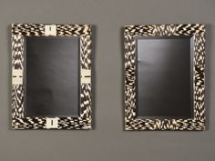 Two quill covered framed beveled mirrors found in France each with an intriguing pattern. (14 1/2″w x 19″h)